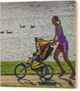 Moher And Child Jogging Wood Print
