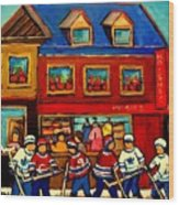 Moishes Steakhouse Hockey Practice Wood Print