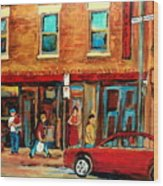 Moishes Steakhouse On The Main By Montreal Streetscene Painter Carole  Spandau  Wood Print