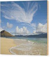 Mokulua Island Beach Wood Print