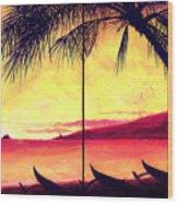 Mokulua Sundown Wood Print by Angela Treat Lyon