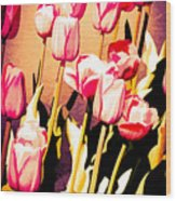 Molten Gold Tulips Wood Print