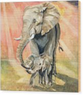 Mom And Baby Elephant Wood Print