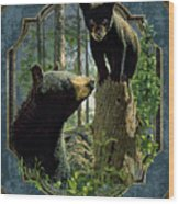 Mom And Cub Bear Wood Print
