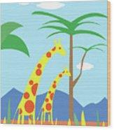 Mom And Me Giraffes Wood Print