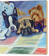 Mom Can She Stay Over - Pug And Boston Terrier Wood Print by Lyn Cook