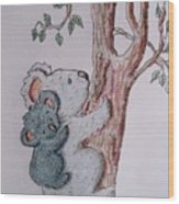 Momma And Baby Koala Wood Print