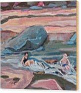 Momma At Slide Rock Park Arizona Wood Print