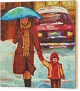 Moms Blue Umbrella Wood Print