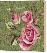 Mom's Day Elegance Vintage Rose Wood Print