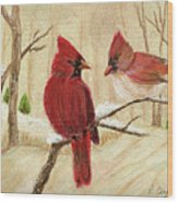 Mom's Favorite Redbirds Wood Print