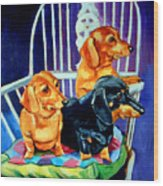 Mom's In The Kitchen - Dachshund Wood Print by Lyn Cook