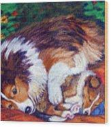 Mom's Love - Shetland Sheepdog Wood Print by Lyn Cook
