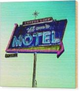 Mom's Motel Wood Print