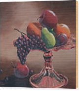 Mom's Pink Dish With Fruit Wood Print
