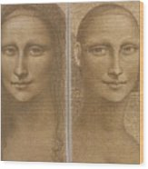 Mona Lisa Past And Present Wood Print