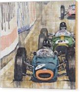 Monaco Gp 1964 Brm Brabham Ferrari Wood Print by Yuriy  Shevchuk