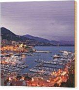 Monaco Harbor At Night Wood Print