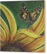 Monarch Butterfly On A Sunflower Wood Print