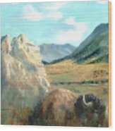 Monarch Of Yellowstone Wood Print