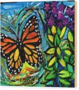 Monarch With Milkweed Wood Print
