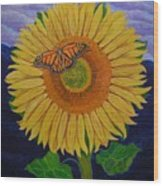 Monarch's Sunflower Wood Print