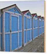 Mondello Beach Cabanas Wood Print