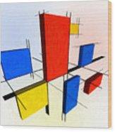 Mondrian 3d Wood Print
