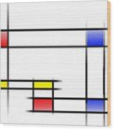 Mondrian In Motion 2 Wood Print