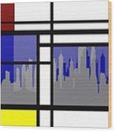 Mondrian In N Y Wood Print