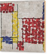 Mondrian Inspired Squares Wood Print by Michael Tompsett