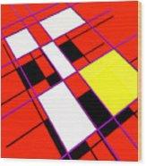 Mondrian Lays A Carpet Wood Print