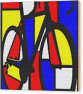 Mondrianesque Road bike Wood Print