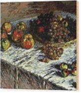 Monet Claude Still Life Apples And Grapes Wood Print