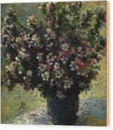 Monet Claude Vase Of Flowers Wood Print