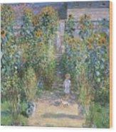 Monet's Garden At Vetheuil Wood Print