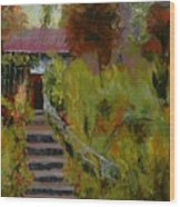 Monet's Garden Cottage Wood Print
