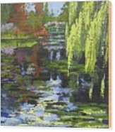 Monets Garden Painting Palette Knife Wood Print