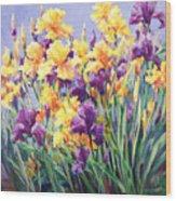 Monet's Iris Garden Wood Print