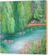 Monet's Pond Wood Print