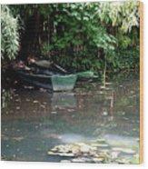 Monets Rowboats Wood Print