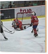Mongolia Team Players Defend Goal Vs Malaysia In Ice Hockey Match In Rink Bangkok Thailand Wood Print
