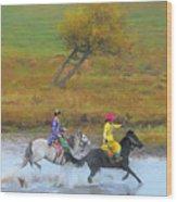 Mongolian Rider Wood Print