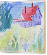 Monhegan Light And Hill Wood Print