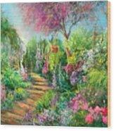 Monica's Garden Wood Print
