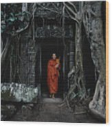 Monk At  Ta Prohm Temple  Wood Print