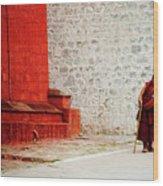 Monk In Tashilhunpo Monastery Shigatse Tibet Yantra.lv Wood Print