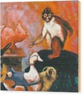 Monkey And Toys Wood Print