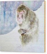 Monkey In Meditation Wood Print