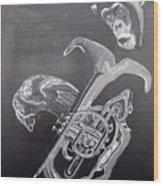 Monkey Playing Tuba Wood Print